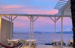 琵琶湖の夕焼け